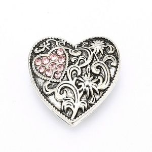 Pink CZ heart snap charm interchangeable jewelry
